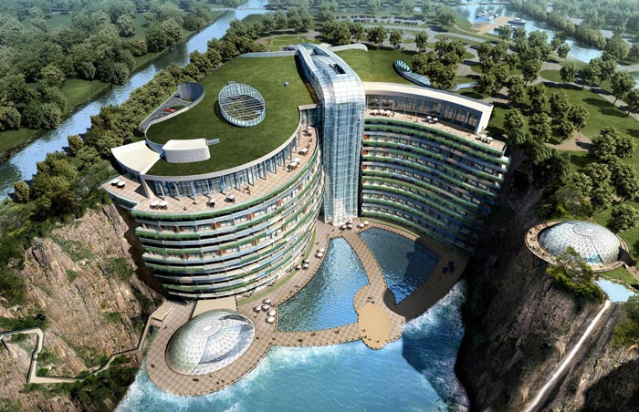 Aerial view of the Waterworld Hotel in Songjiang Quarry in China