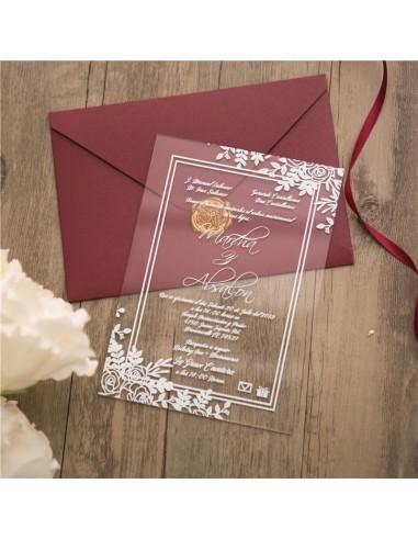 faire part mariage en plexiglas design champetre blanc modele 4