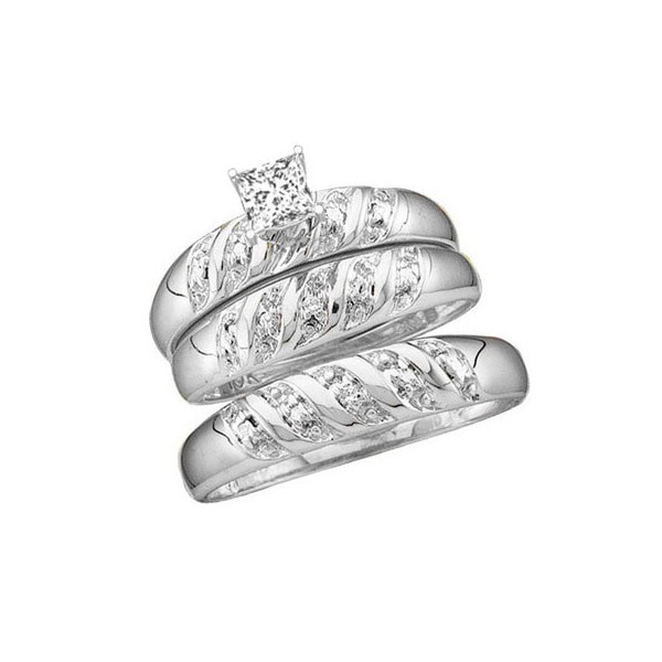 Classic Trio Happy Couples Rings 1 Carat Princess Cut