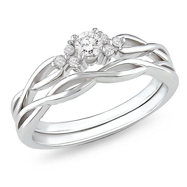 Precious Diamond Bridal Ring Set 025 Carat Round Cut