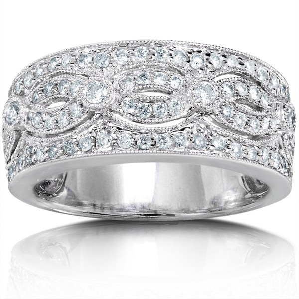 Stunning Huge Round Diamond Wedding Band For Her In White