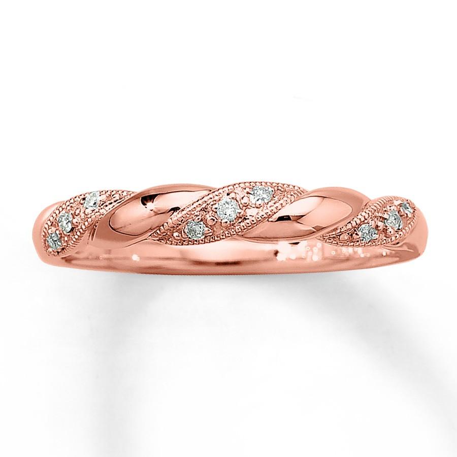 Inexpensive Round Diamond Wedding Ring Band In Rose Gold