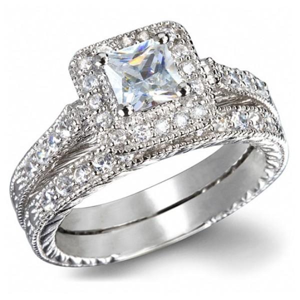 GIA Certified 1 Carat Princess Cut Diamond Vintage Wedding