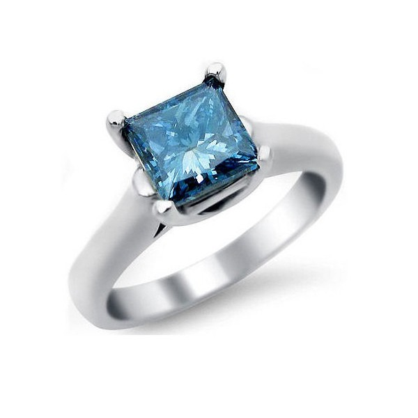 1 Carat Princess Cut Sapphire Solitaire Engagement Ring In