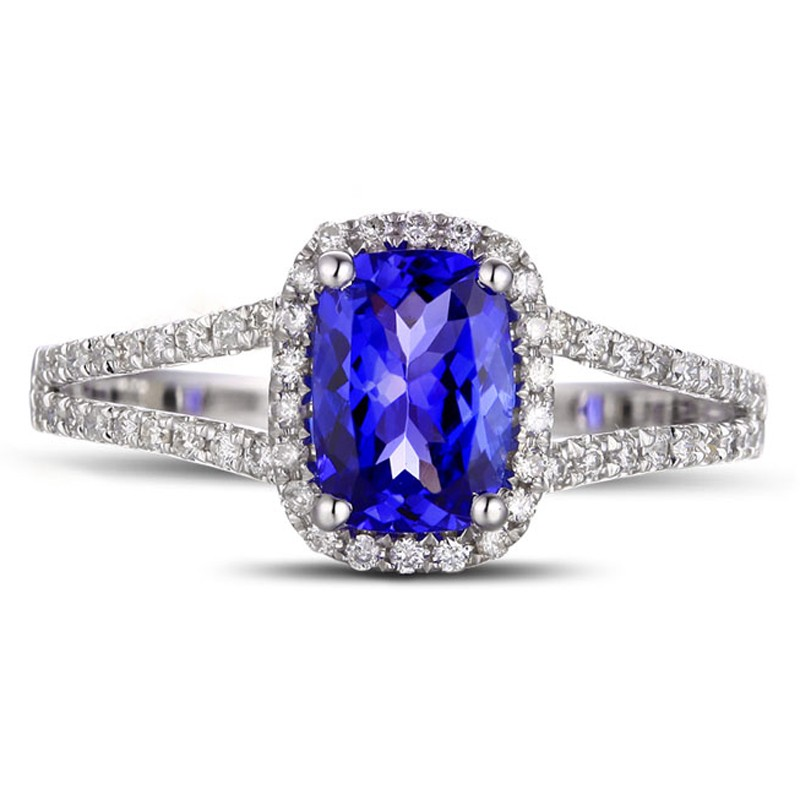 2 Carat Cushion Cut Sapphire And Diamond Halo Engagement