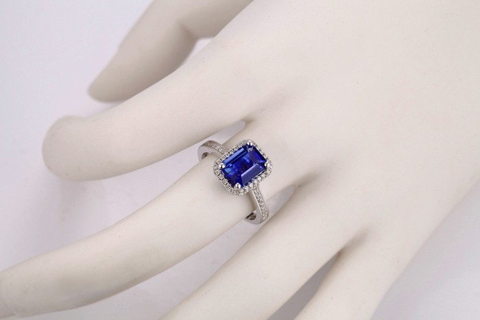 Antique 150 Carat Emerald Cut Blue Sapphire And Diamond
