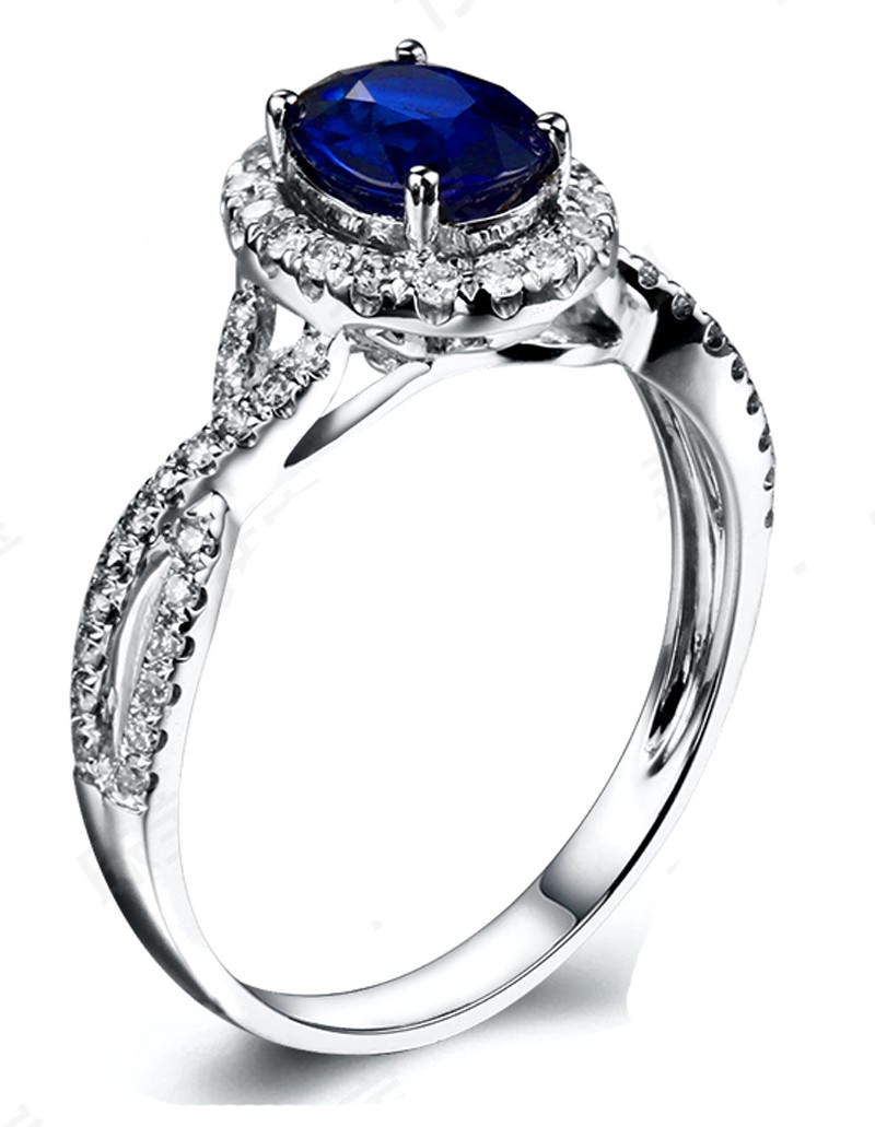 2 Carat Oval Cut Blue Sapphire And Diamond Halo Engagement