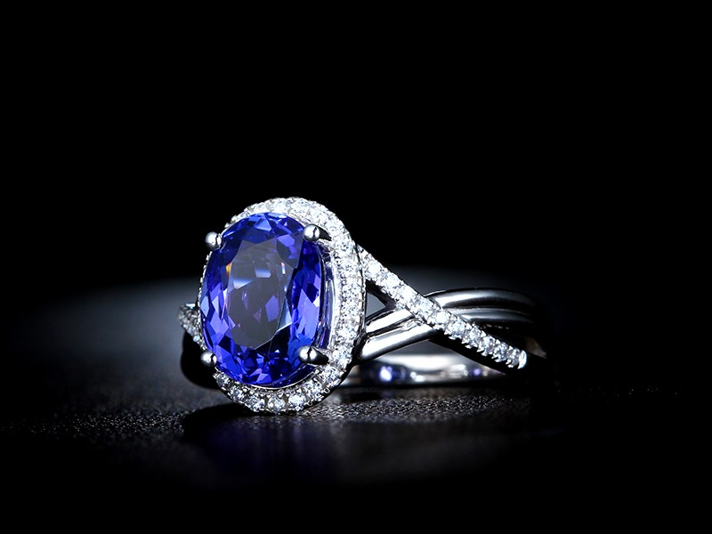 Inexpensive 1 50 Carat Blue Sapphire And Diamond Infinity Engagement Ring In White Gold Jeenjewels