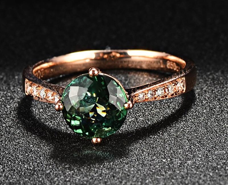 Classic 1 Carat Green Emerald And Diamond Rose Gold