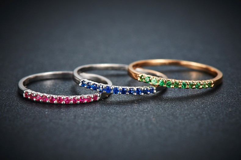 Stackable Set Of 3 Gemstones Ruby Sapphire And Emerald Wedding Ring Bands For Women Jeenjewels