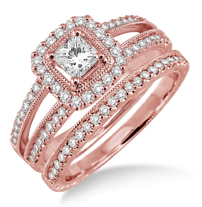 200 Carat Antique Bridal Set Halo Ring With Round Cut