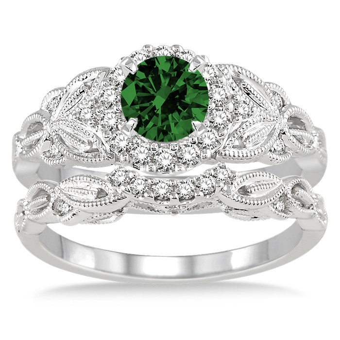 125 Carat Emerald Amp Diamond Vintage Floral Bridal Set