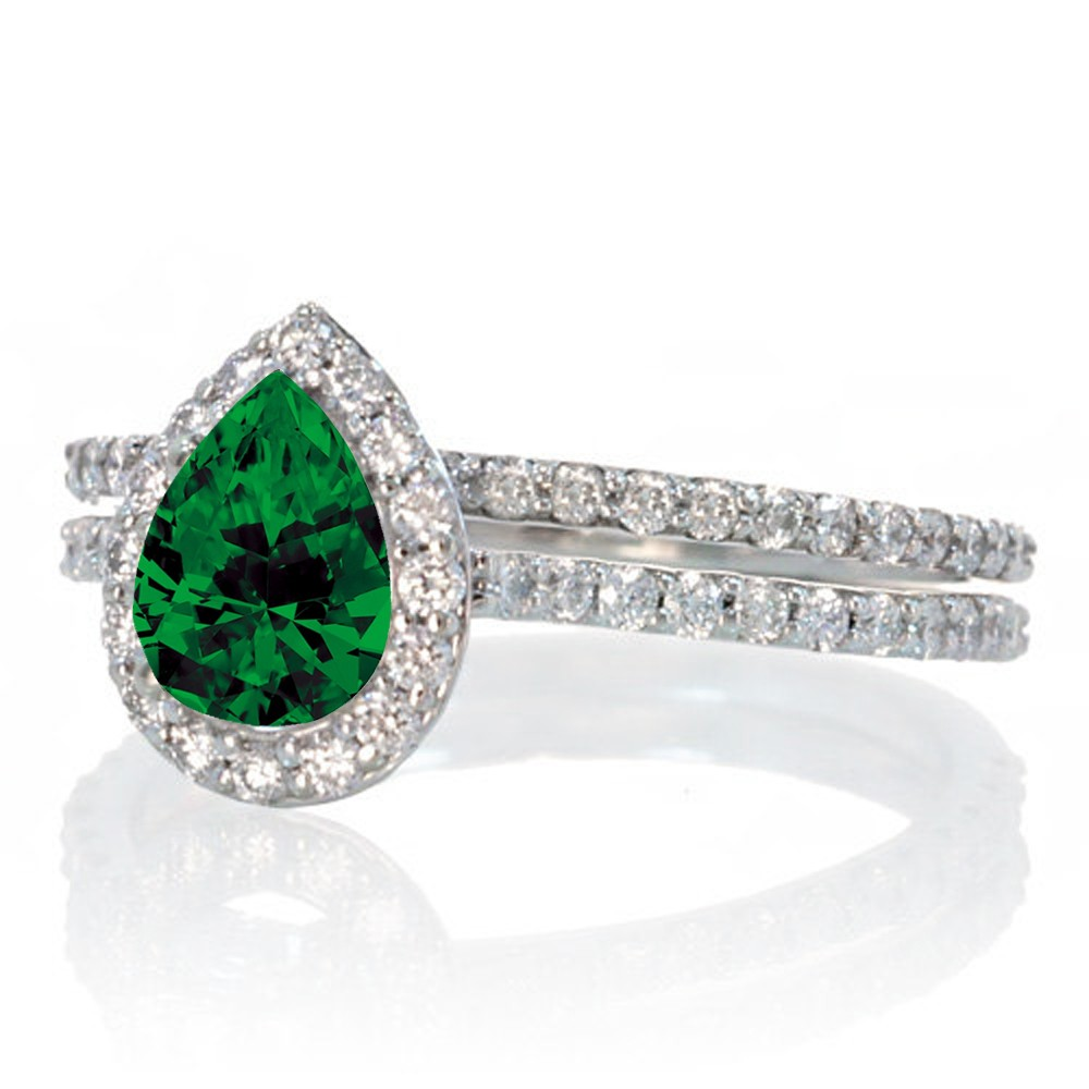 2 Carat Pear Cut Emerald Halo Bridal Set For Woman On 10k