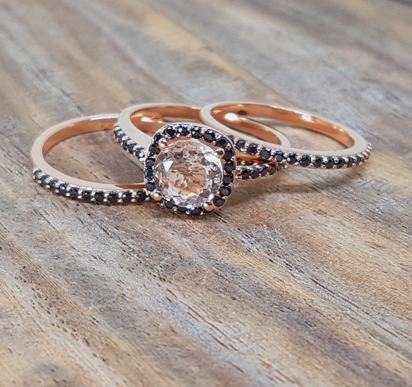 Sale 2 Carat Morganite Amp Black Diamond Trio Wedding Ring