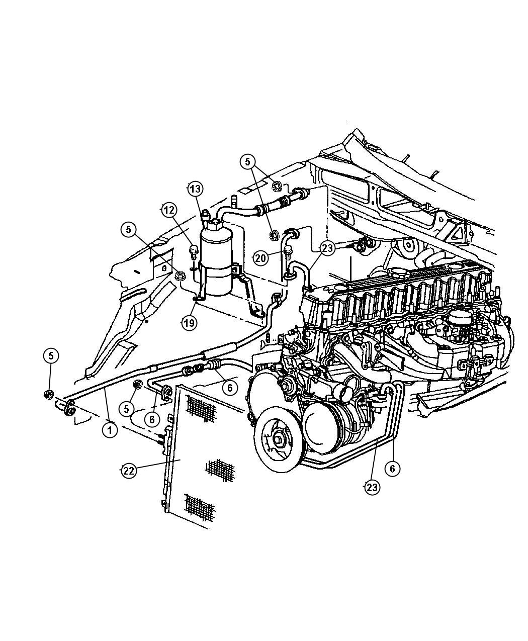Jeep Grand Cherokee Line A C Suction Air Condenser