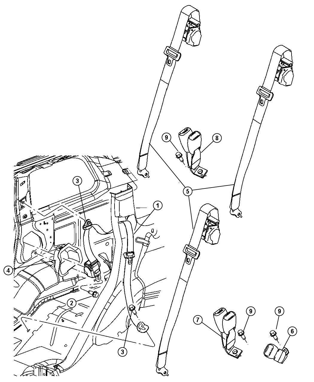 Jeep Commander Seat Belt Rear Outer Left Trim
