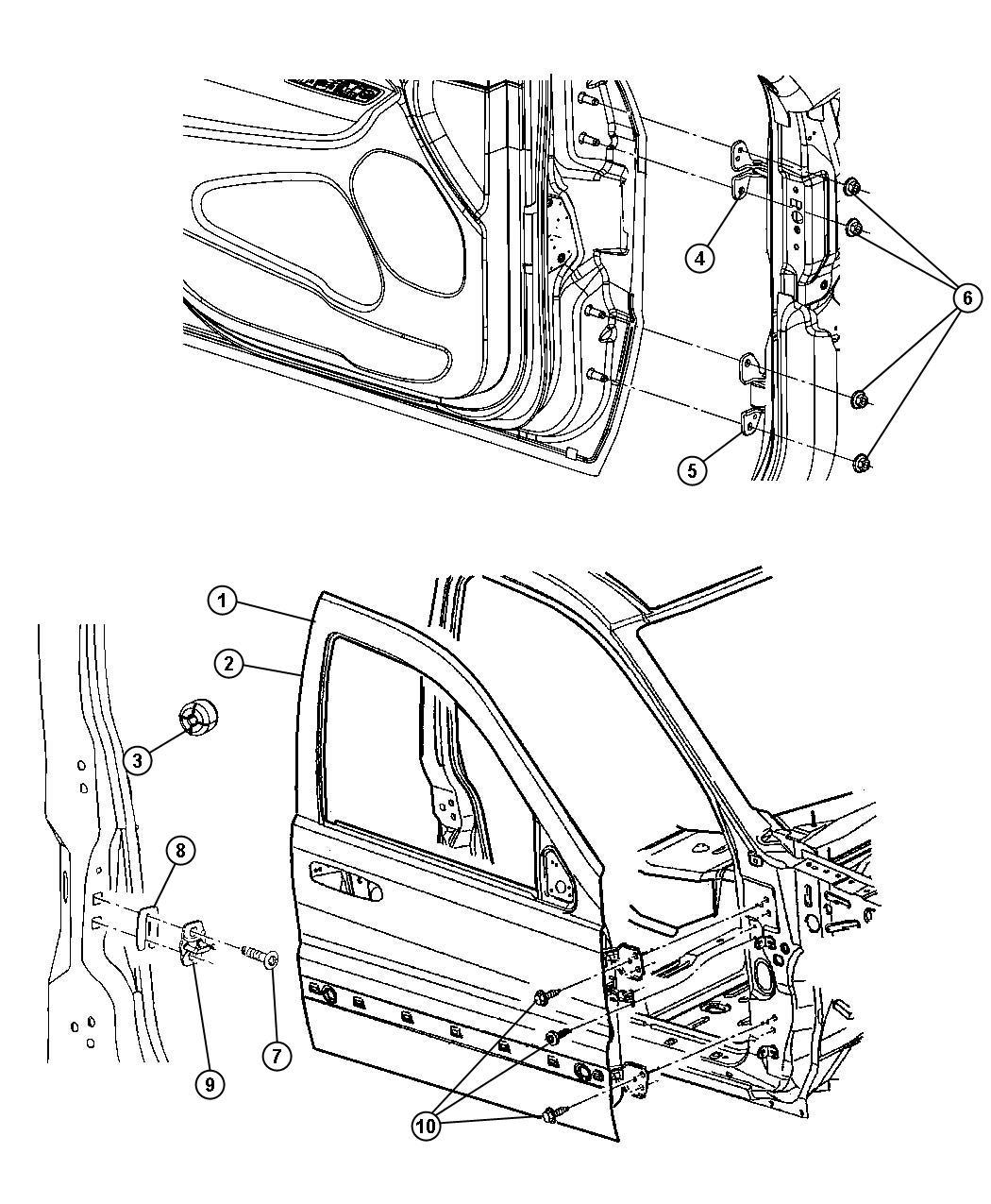 Jeep Grand Cherokee Door Front Right Shell Mopar
