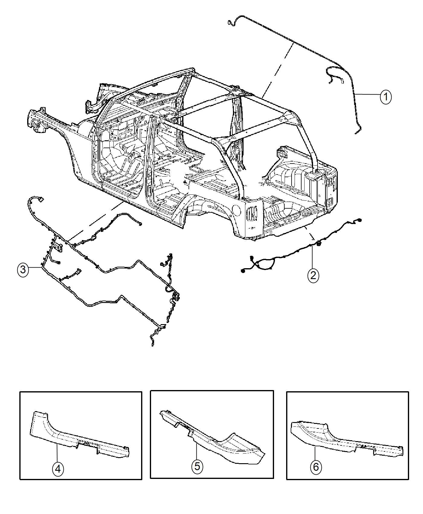 Jeep Wrangler Wiring Body Front Hard Piece