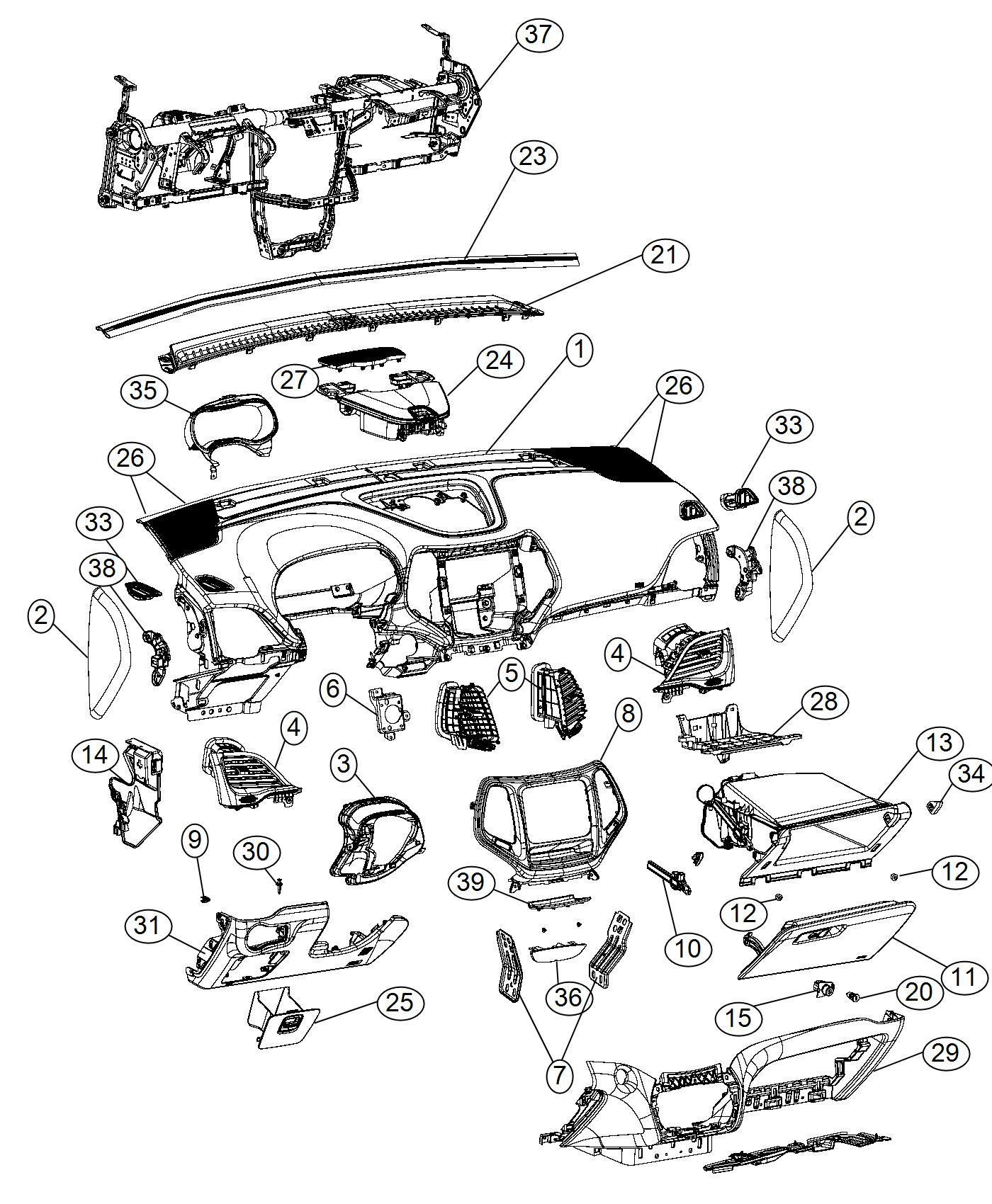 Jeep Cherokee Instrument Panel Base Panel X9