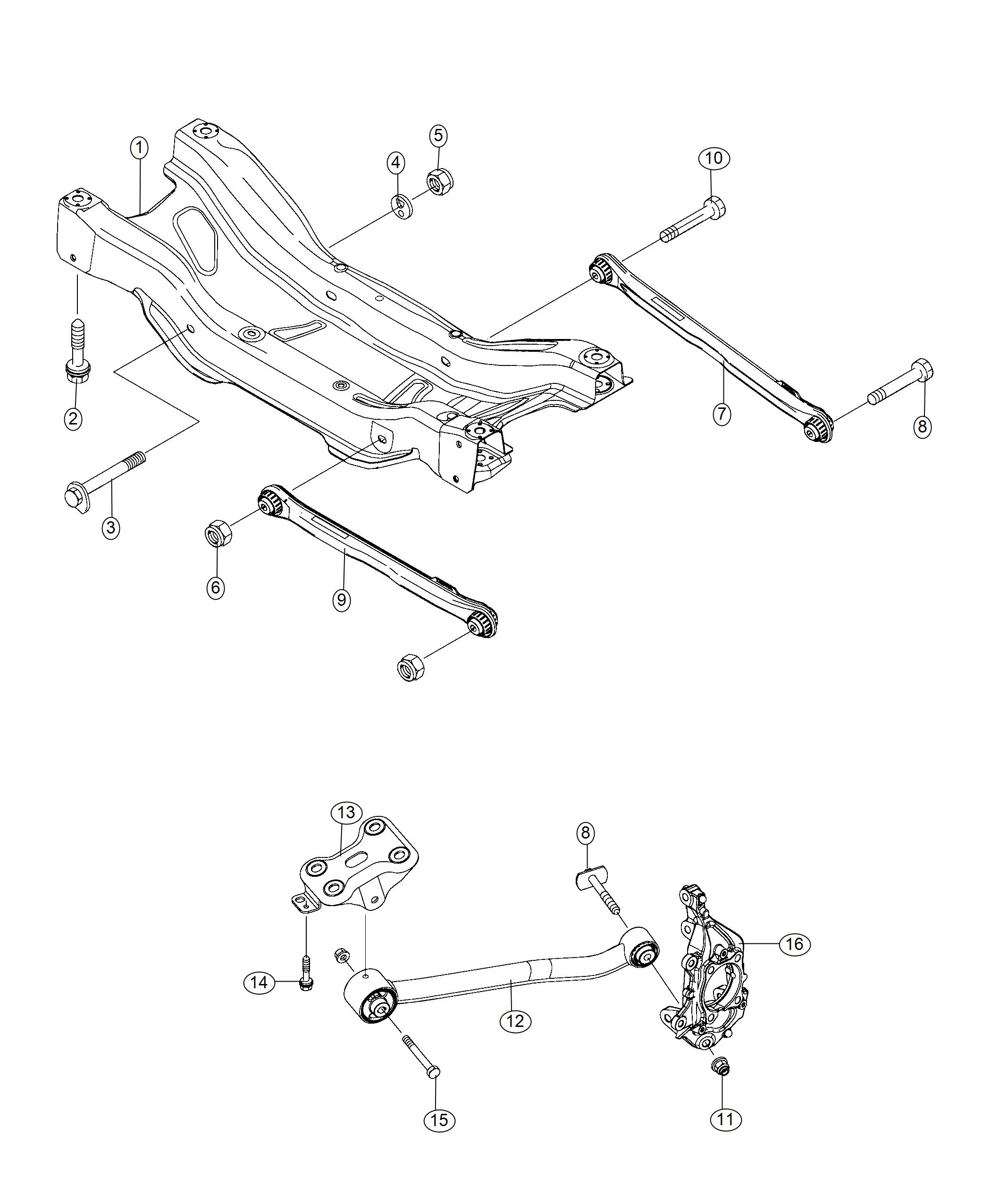 Jeep Compass Control Arm Assembly Rear Left Left