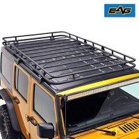"EAG Full Length Roof Rack Cargo Basket for 07-18 Jeep Wrangler JK 4 Door (4.6' x 7.8' x 5.5"")"