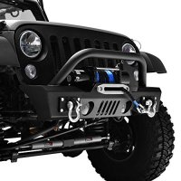 GSI 07-16 Jeep Wrangler JK Black Textured Short Stubby Front Bumper With Fog Lights Hole & 2x D-Ring & Winch Plate (Black)