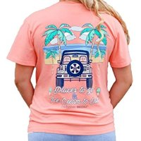 Jadelynn Brooke V-Neck T-Shirt - Jeep Tee - Ice Cream To Eat - Color Coral