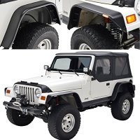 E-Autogrilles Flat Style Front + Rear Fender Flares With Side LED lights for 97-06 Jeep Wrangler TJ (17192)