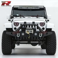 Razer Auto 07-17 Jeep Wrangler JK Black Textured Rock Crawler Front Bumper With Skid Plate, Fog Lights Hole & 2x D-Ring & Winch Plate (Black)