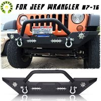 AUTOSAVER88 07-16 Jeep Wrangler JK Textyred Black Rock Crawler Front Bumper with LED Light & D-Ring