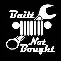 Jeep Built Not Bought Decal Vinyl Sticker|Cars Trucks Vans Walls Laptop| White |5.5 x 5 in|LLI145