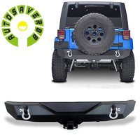 "AUTOSAVER88 07-16 Jeep Wrangler JK Rock Crawler Rear Bumper with D-Ring & 2"" Hitch Receiver"