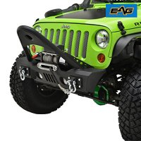E-Autogrilles 07-17 Jeep Wrangler JK Black Textured Stinger Front Bumper With OE Fog Lights Housing and Winch Plate