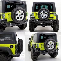 """07-16 Jeep Wrangler JK Rear Bumper With Two 4.75 Ton With D-Rings and 2""""Hitch Receiver"""