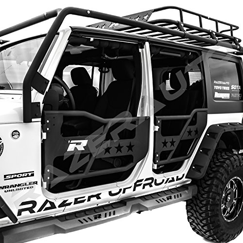 Razer Auto Black Textured Rock Crawler Off Road 4pcs Front+Rear Tubular 4 Door Replacement & EAG 07-18 Jeep Wrangler JK Safari Tubular Doors With Mirror (4 Door ...