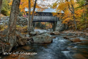 The Flume covered bridge in New Hampshire's Franconia state park.