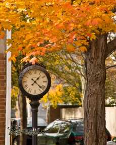 Salem Ma clock with maple foliage color