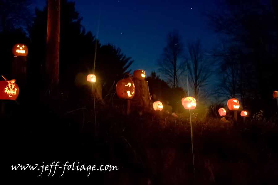 Night falls at Cilley Hill as the sky darkens and the pumpkins come to life!