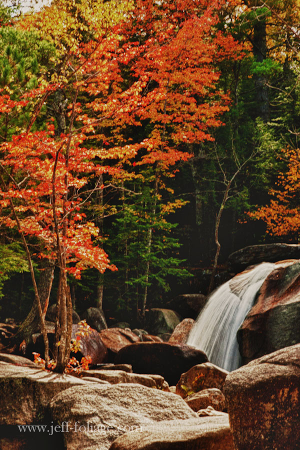 Diana's Baths are series of cascading waterfalls into pools where people go swimming during the summertime are surrounded by fall foliage in the fall