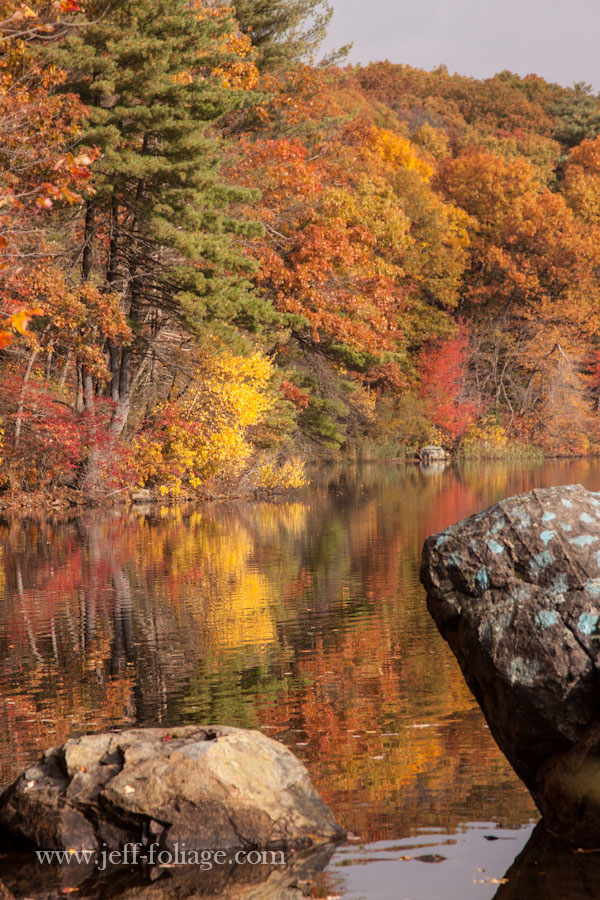 to rocks in the foreground are surrounded by the reflection of the red orange and yellow fall foliage colors of Birch pond