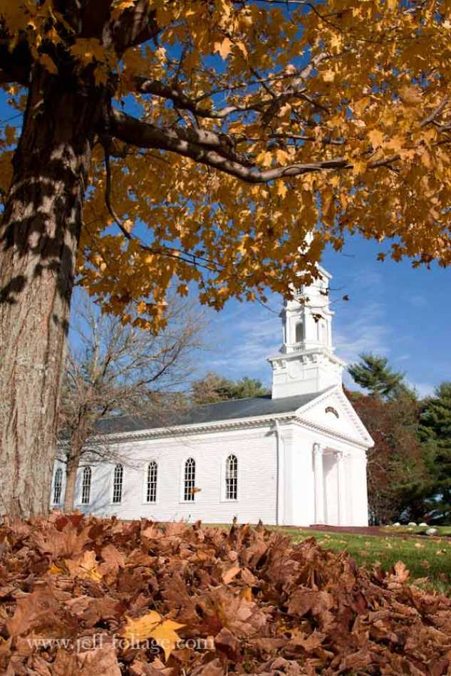 Wayside Inn chapel in Sudbury Mass during autumn fall foliage