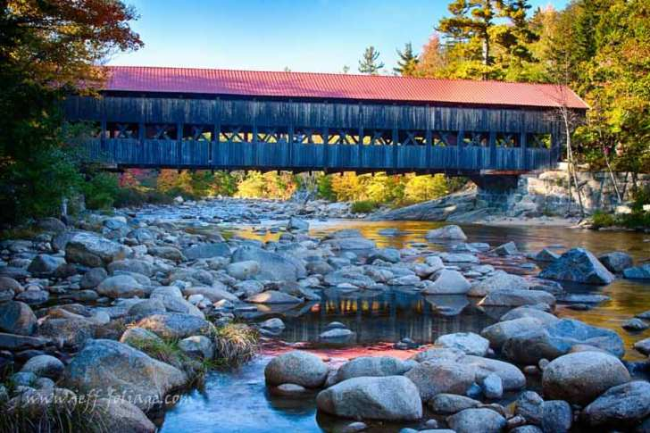 The Albany Covered Bridge lies along the Kancamagus Highway.