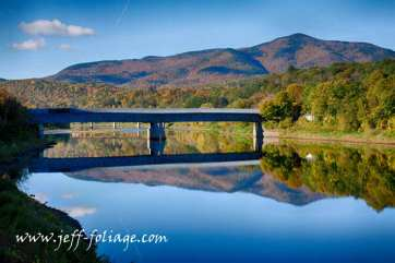 Cornish-Windsor covered Bridge under the fall colors of Mount Ascutney.