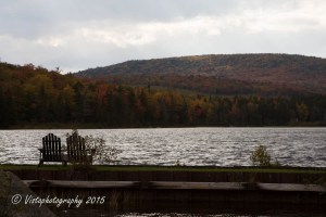 Fading fall colors on the other side of lake Seyon in Vermont