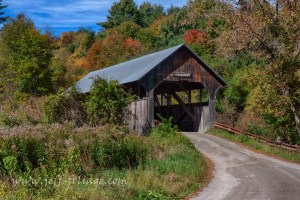 Coburn covered bridge in fall foliage-2
