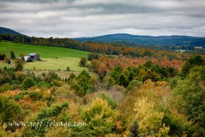 Barns on a hill in Peacham Vermont