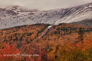The Cog Rail engine coming down off Mount Washington from the ice to the fall colors