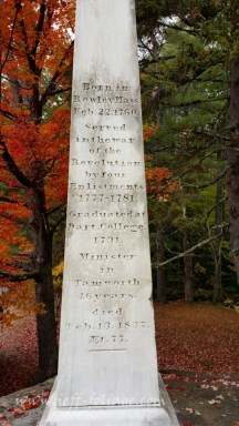 Cenotaph of Samuel Hidden in Tamworth New Hampshire.