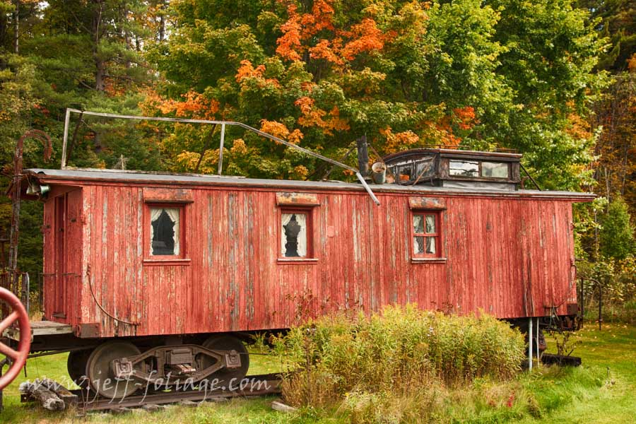 New England photography of Old caboose in Vermont fall colors