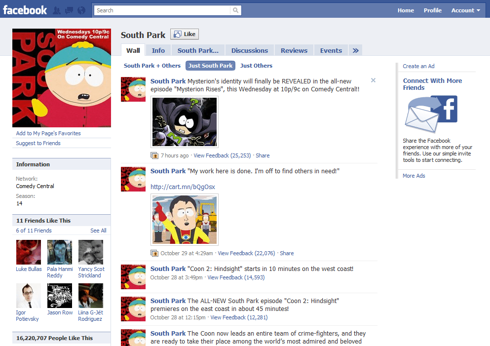 Facebook Page 12 South Park